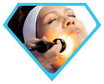 Female client receiving a microcurrent facial at Face of Jules in Los Angeles